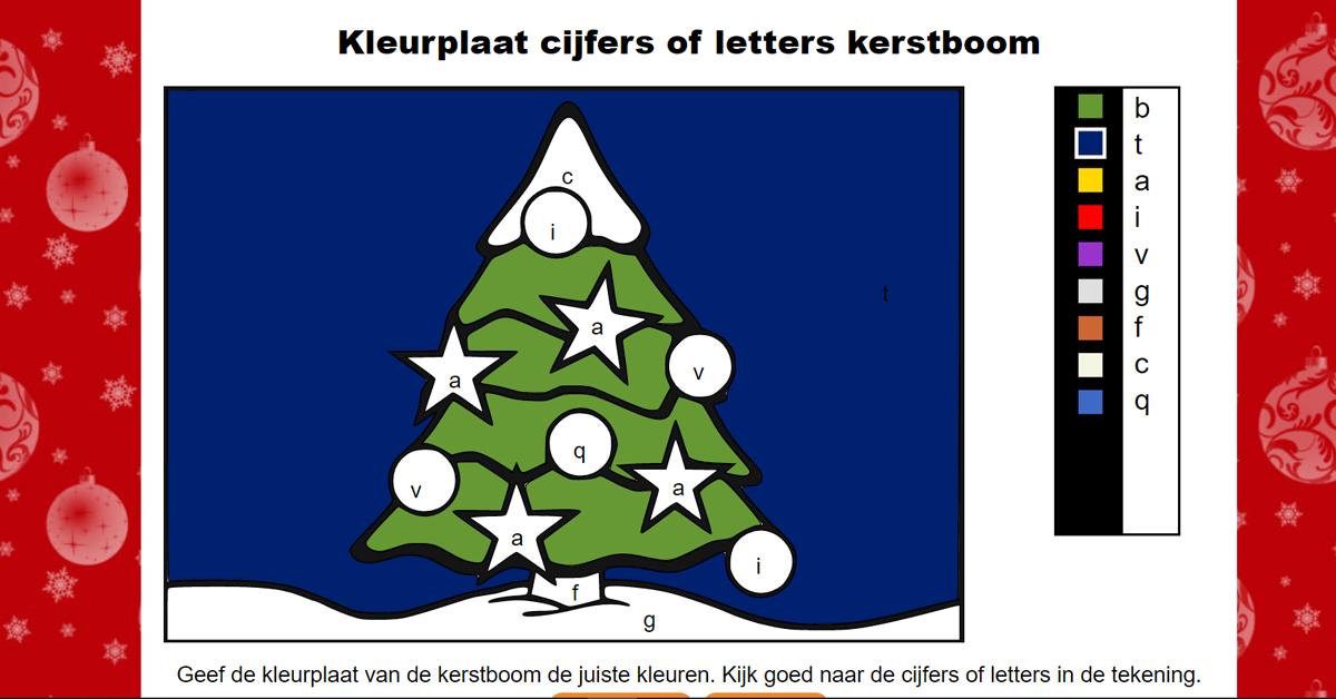 Kleurplaat Kerstboom Met Cijfers En Getallen